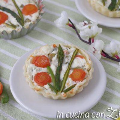 crostate asparagi e ricotta monoporzione senza uova