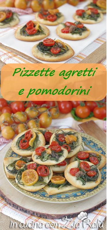 Le pizzette agretti acciughe e pomodorini