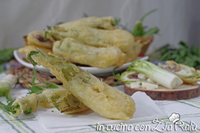 puntarelle fritte in pastella con alici e mozzarella