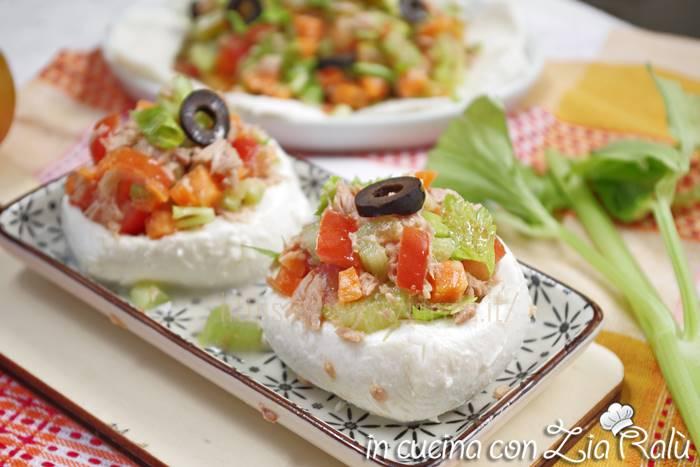 Mozzarelle ripiene di tonno e verdure estive