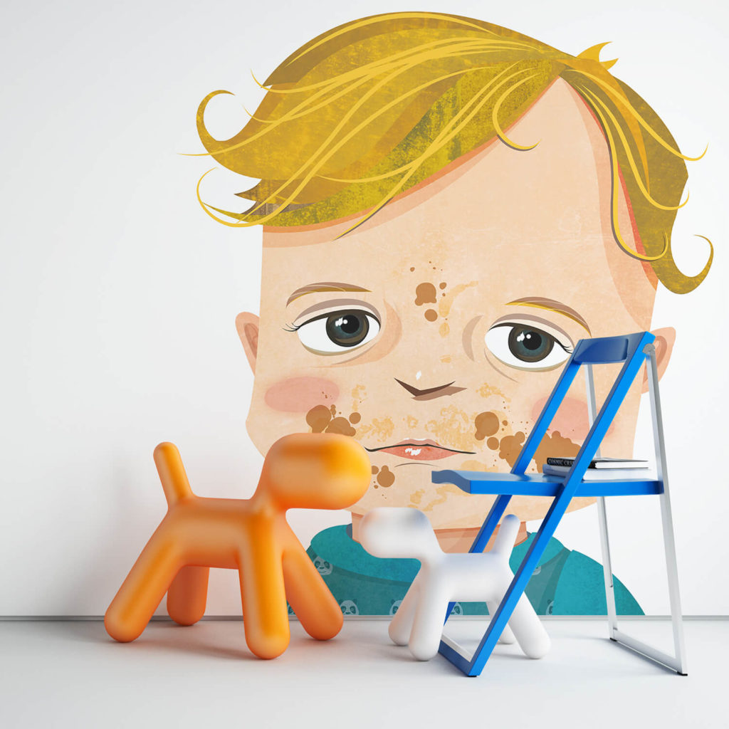 muursticker met portretillustratie