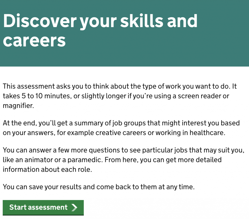 A screenshot of the national careers service skills assessment