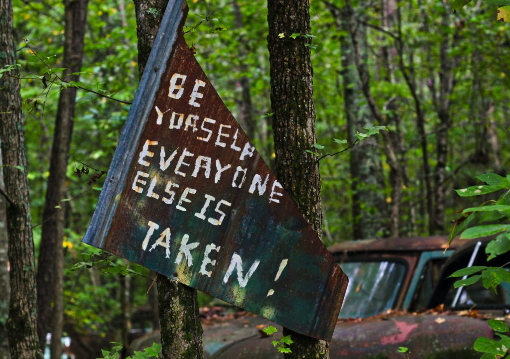 A sign in the woods baring the words, be yourself, everyone else is taken.