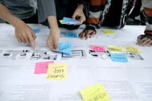 An image of a team mapping out a user journey