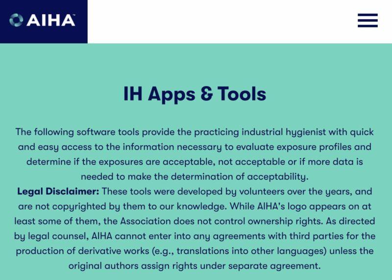 AIHA exposure assessment tools