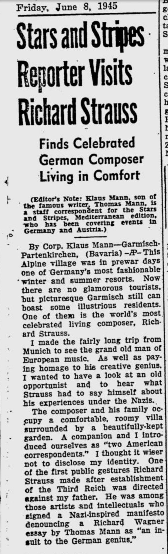 Klaus Mann on Richard Strauss, 1945