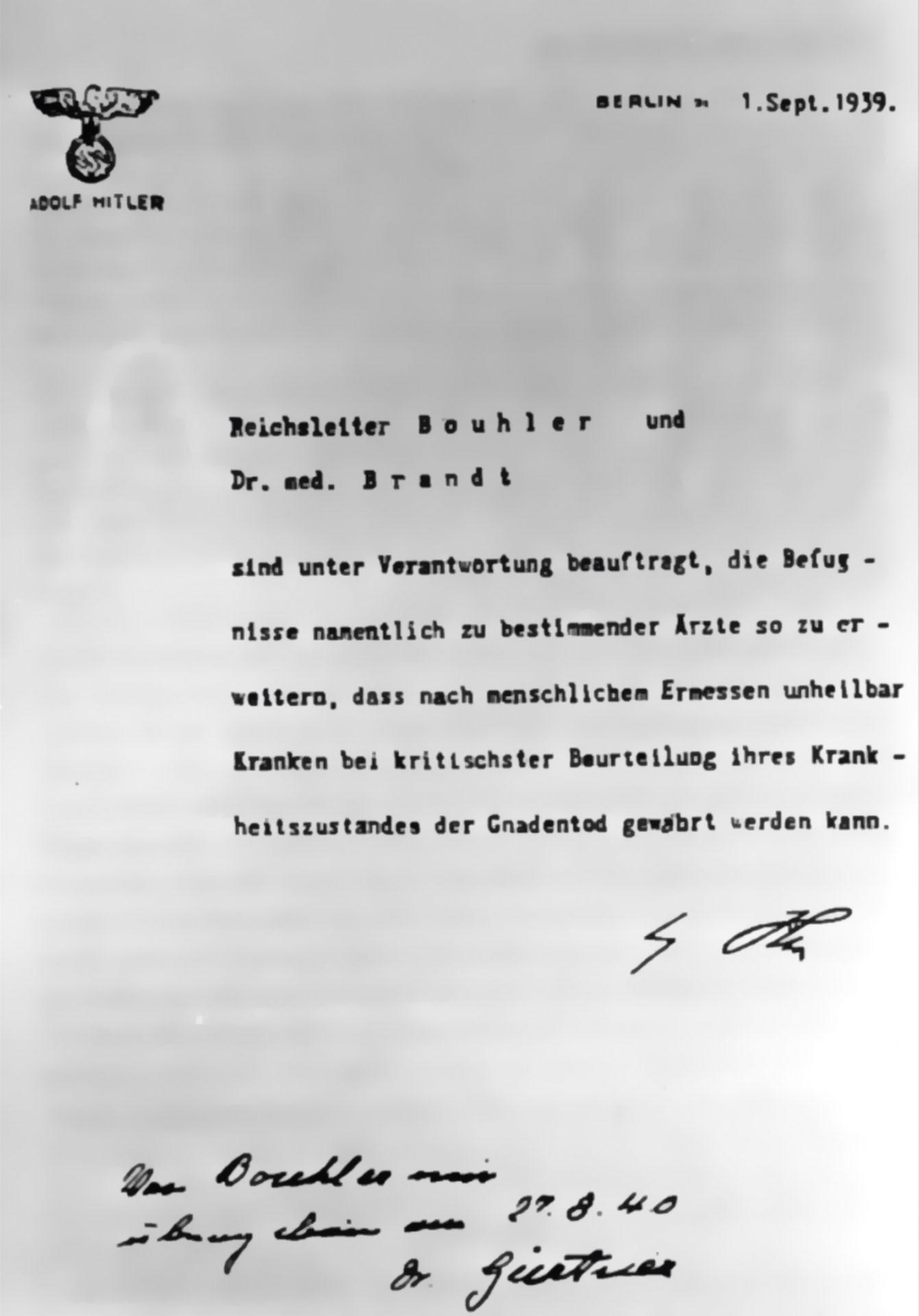 Hitler Schreiben Brandt zur Euthanasie