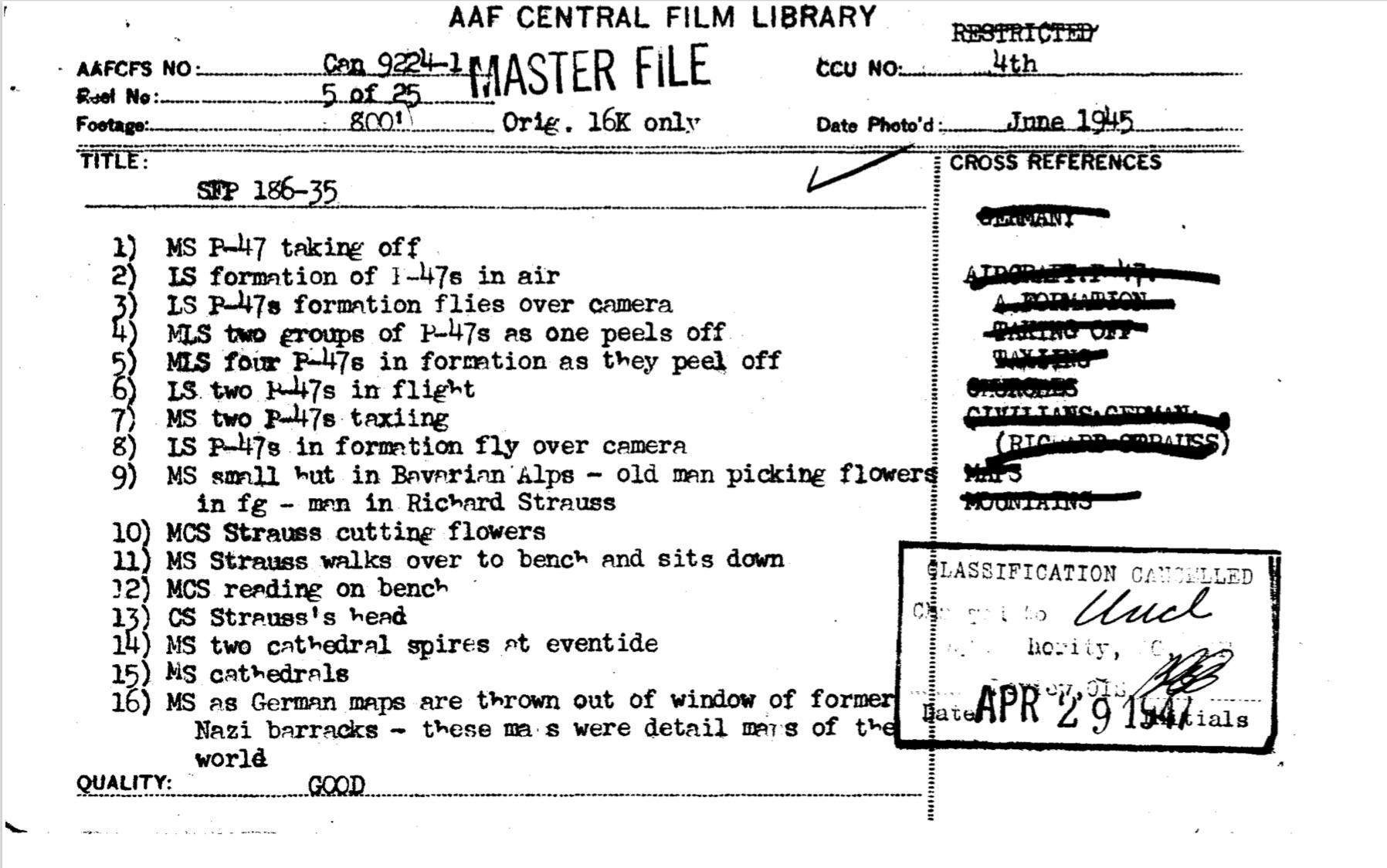 File card Strauss 1945 NARA