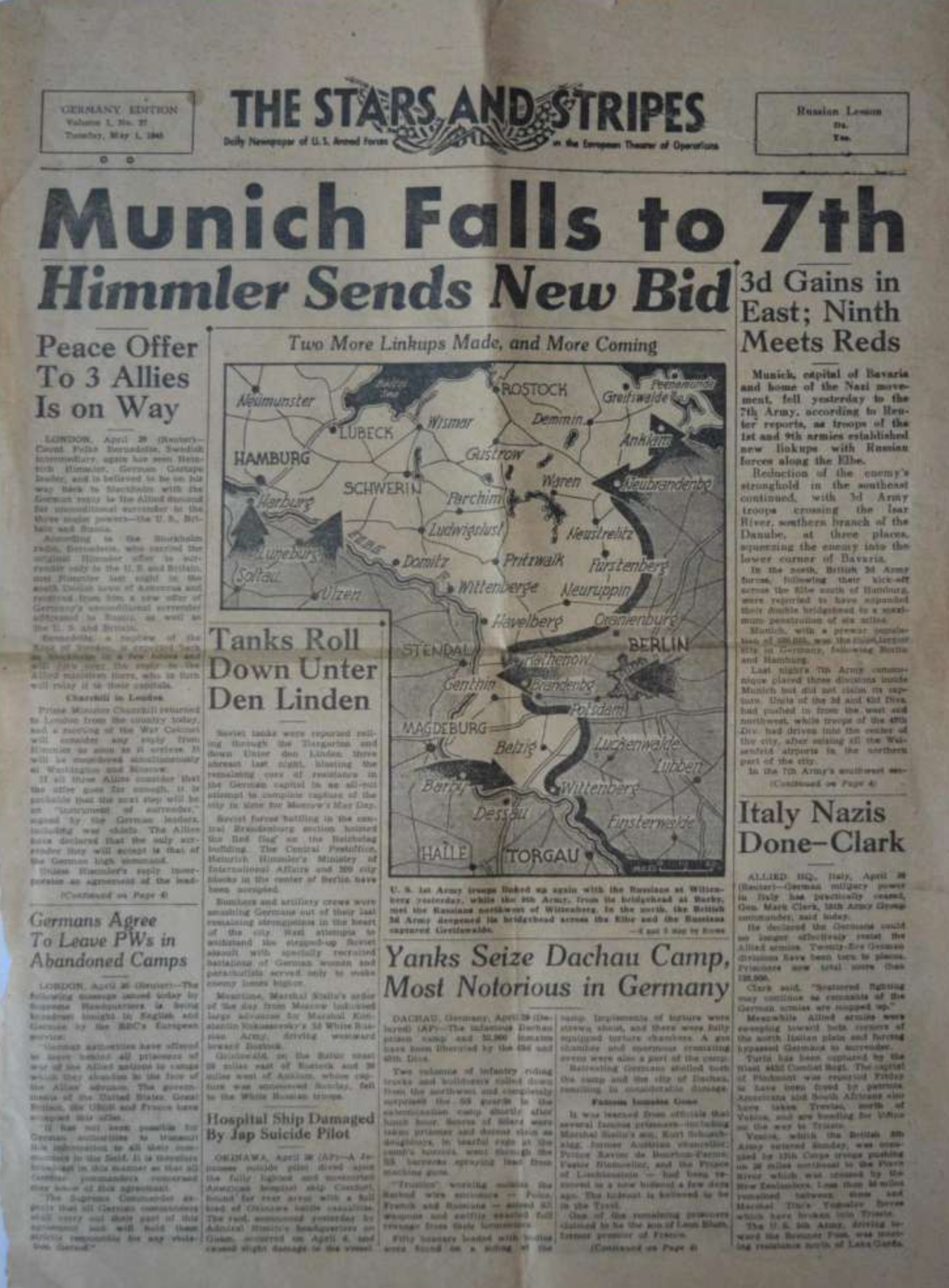 Munich Falls to 7th. Stars and Stripes 1945 05 01