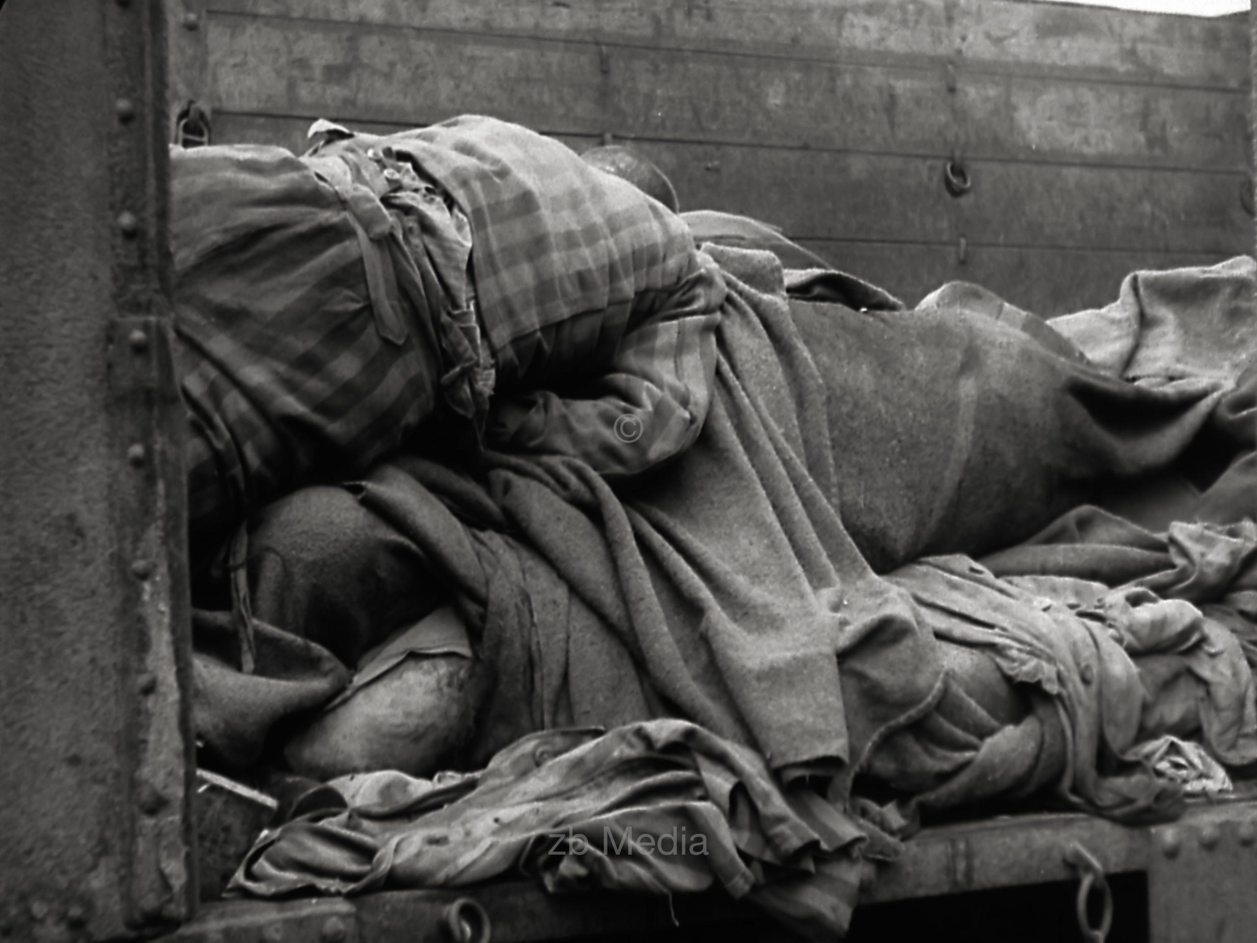 Zug mit Häftlingen aus dem KZ Dachau, Leichen